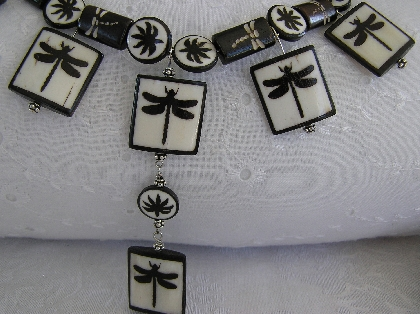 Dragonfly Necklace Hand Carved and Hand Painted Bone Necklace