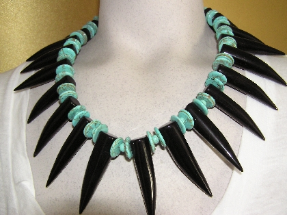 Getting in Touch with Your Wild Side  Agate Turquoise and  Lava Necklace