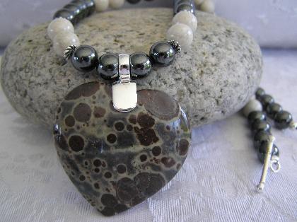 In a Frogs Eye    Frogs Eye Jasper Heart Necklace