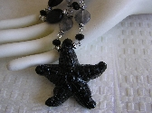 A Star is Born    Hand Carved Black Starfish Agate Necklace