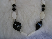 Black Nuggets Against a Sea of White    Bone and Onyx Necklace