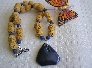 Volcanic Erruptions Lava Beads with Agate Druzy