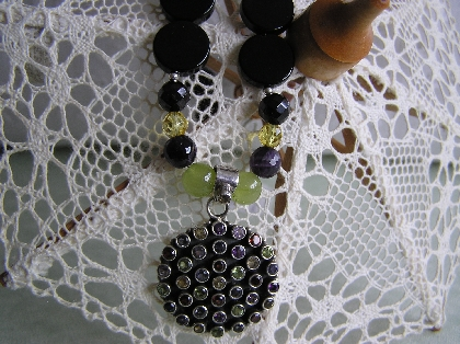 Timeless  Necklace of Garnets Amethyst Citrine and Peridot Necklace