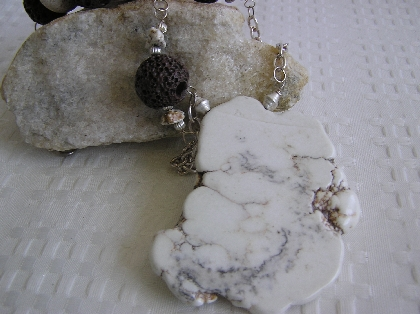 Smooth as White Wine   White Buffalo Turquoise Necklace