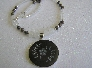 Etched on the Milky Way   Necklace of Vintage Moonstones and Etched Glass Pendant