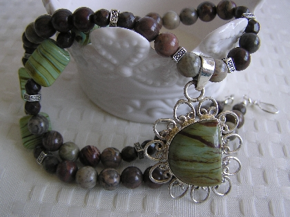 Mint Chocolate Chip Necklace with Picture Jasper