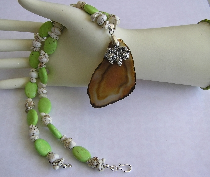 Ready for Harvest Lime Green Turquoise Necklace