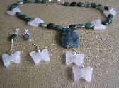 Butterflies are Free Moss Agate and Butterfly Necklace