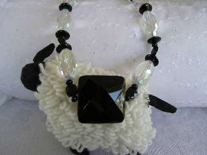 Crystal Bling   Faceted Crystal and Black Onyx Necklace