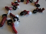 Red White and Black  Red Coral Black Lava and White Agate Necklace