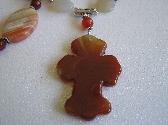 Orange Cross    Carnelian Cross Necklace