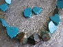 The Blues   Turquoise and Rainbow Calsilica Necklace