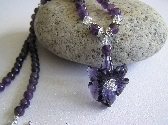 Summer Season Carved Amethyst Flower Necklace