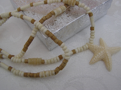 Bones at the Beach Bone Star fish Long Necklace