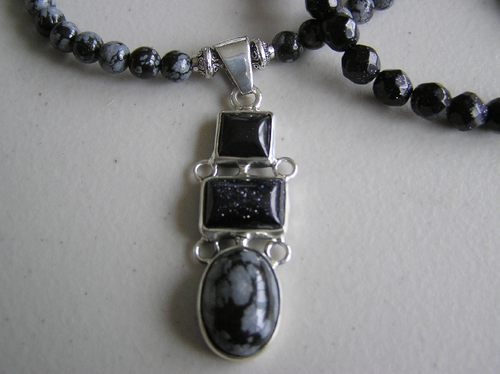Blue Sparkles Blue Sitara and Snowflake Obsidian Necklace