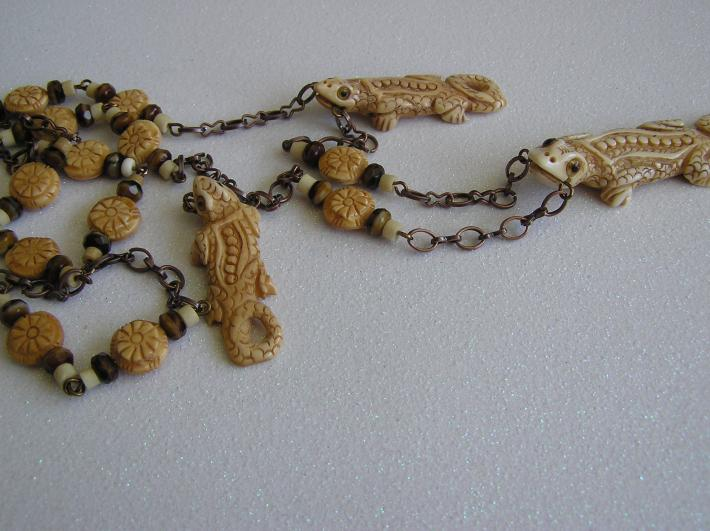 Swamp Beasts     Bone Alligator Necklace