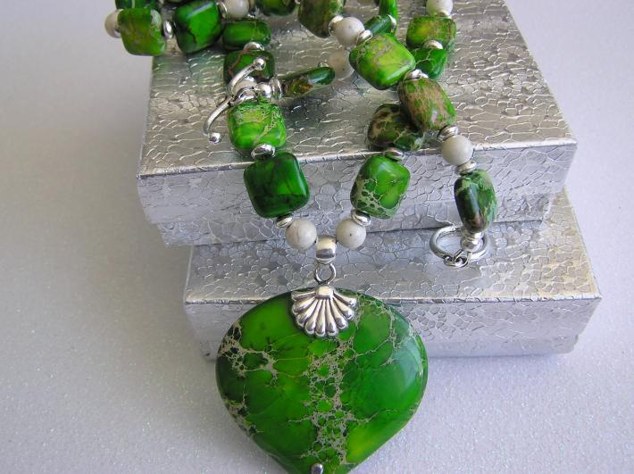 The Green Knoll           Sediment Jasper Necklace
