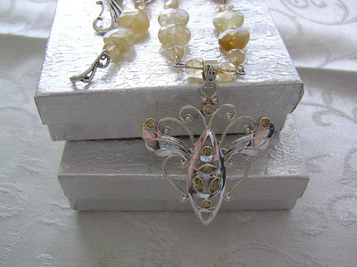 Angel Wing Butterfly     Citrine Necklace