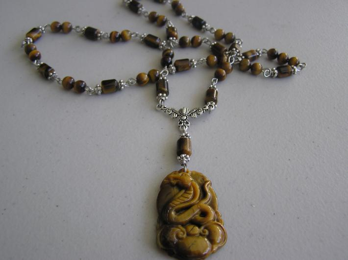 Golden Tiger Eye Snake Necklace