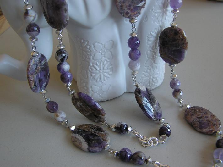 Big Bold and Amethyst     Necklace with Chain