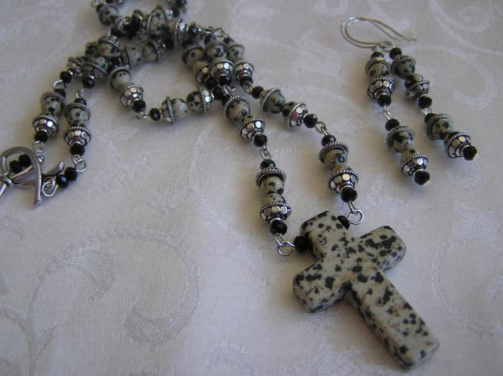Spotted Cross       Dalmation Jasper Cross Necklace