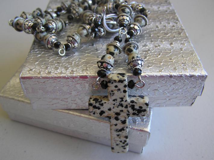 Spotted Cross       Dalmation Jasper Cross Necklace