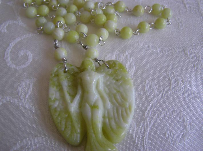 Angelic Protector             Yellow Jade Angel Necklace