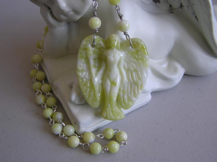 Angelic Protector             Yellow Jade Angel Necklace
