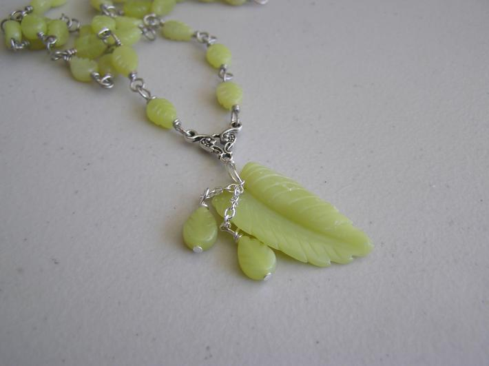 Leaves of Yellow          Yellow Jade Necklace with Matching Earrings