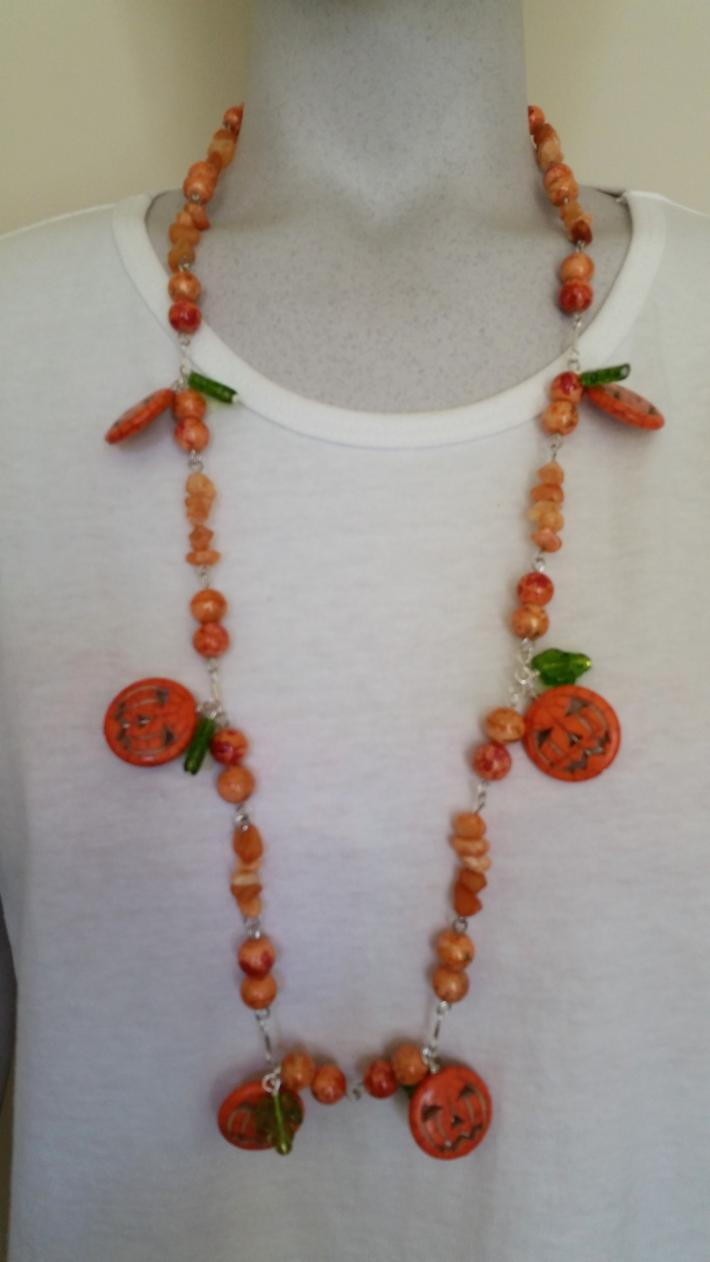 From The Patch                Halloween Pumpkin Necklace with matching Earrings