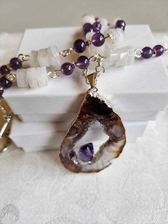 Once in a Blue Moon                  Geode Amethyst Rainbow Moonstone Necklace