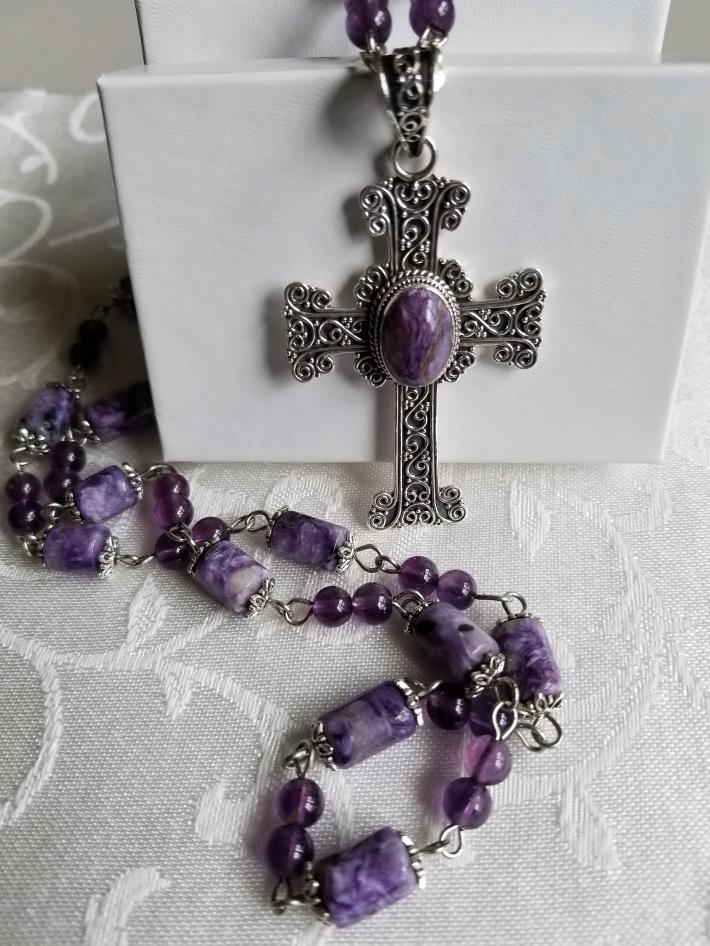 Vintage Royal Cross                 Charoite Necklace