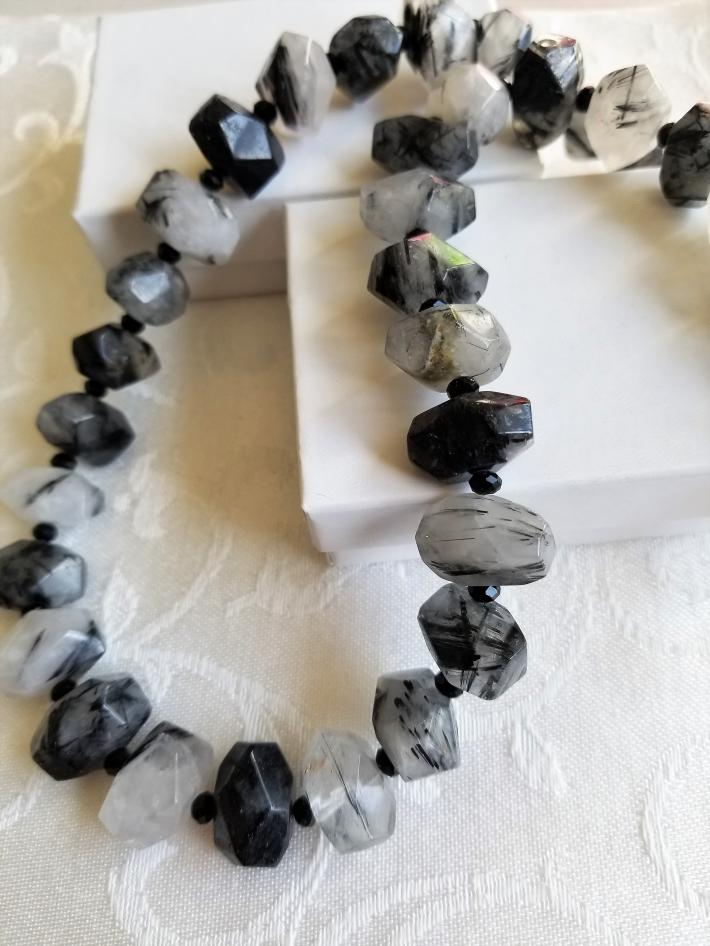 Stunning in Black                  Large Faceted Black Rutilated Quartz Necklace