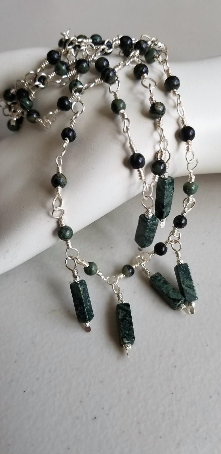 African Green                                Petite Kambaba Jasper Necklace