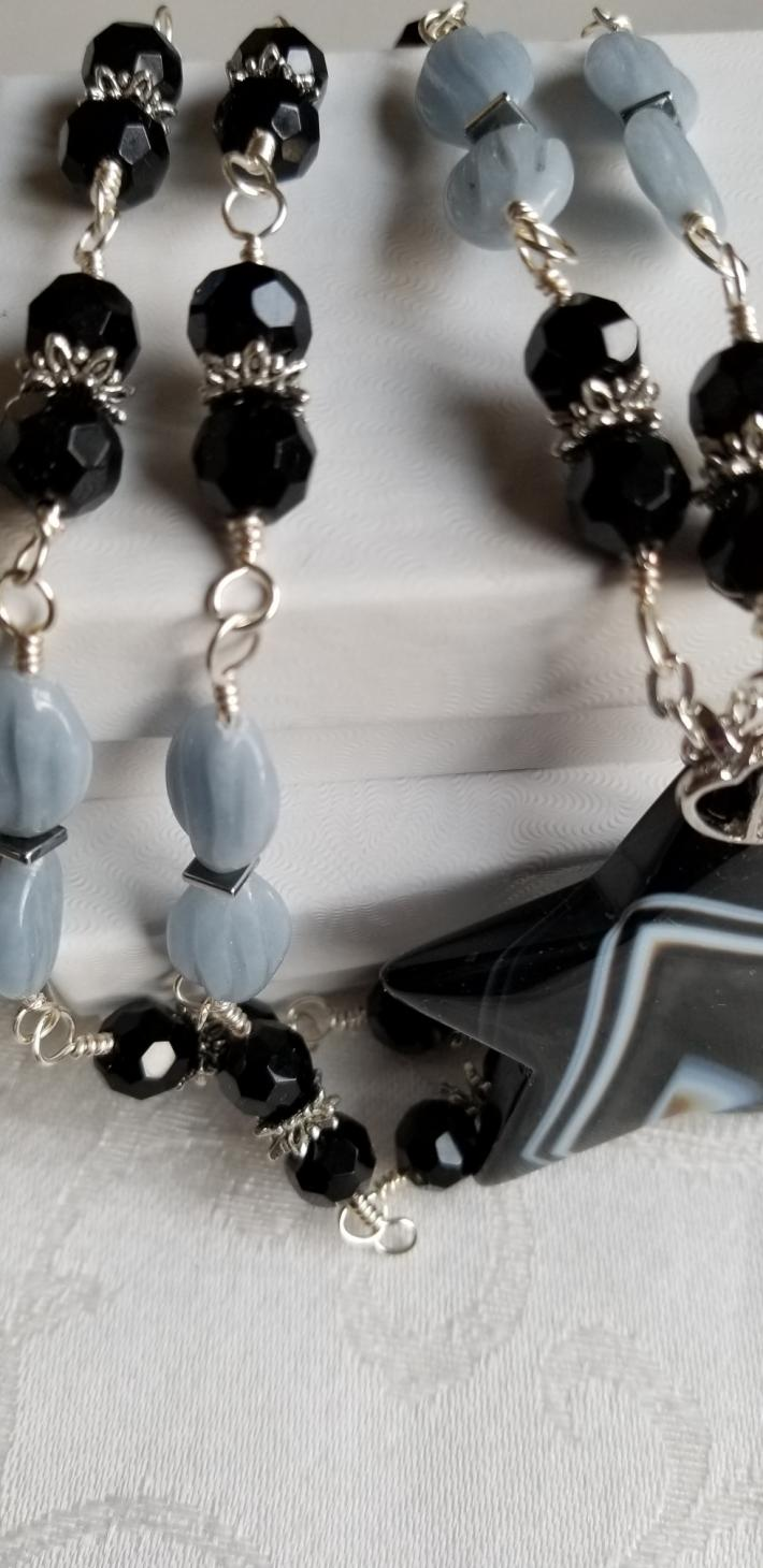 Lady Sheriff                               Onyx and Agate Star Necklace