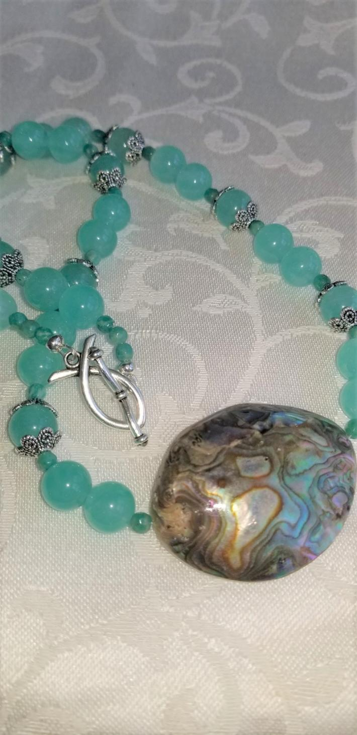 Turtle Bay                                                  Quartzsite and Abalone Necklace