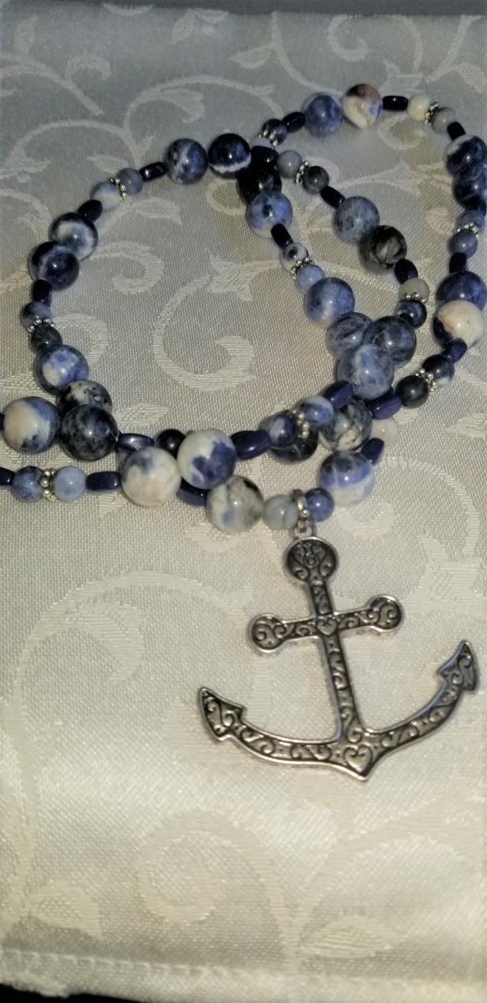 Shes in the Navy Now                                Sodalite Anchor Necklace