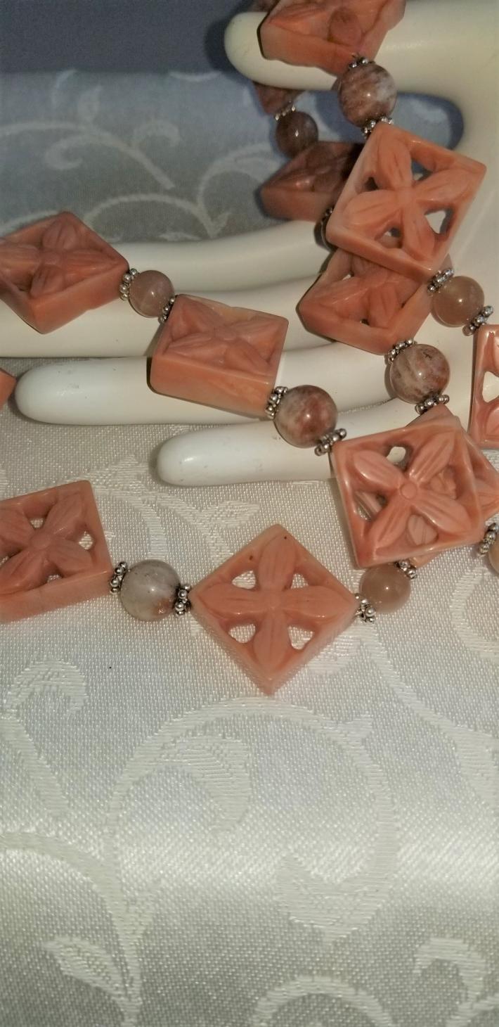 Mango Sherbet                                          Jade with Peach Moonstone Necklace