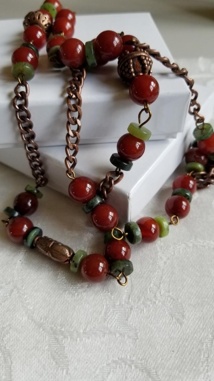 Copper Fields                                                   Carnelian and Canadian Jade Necklace