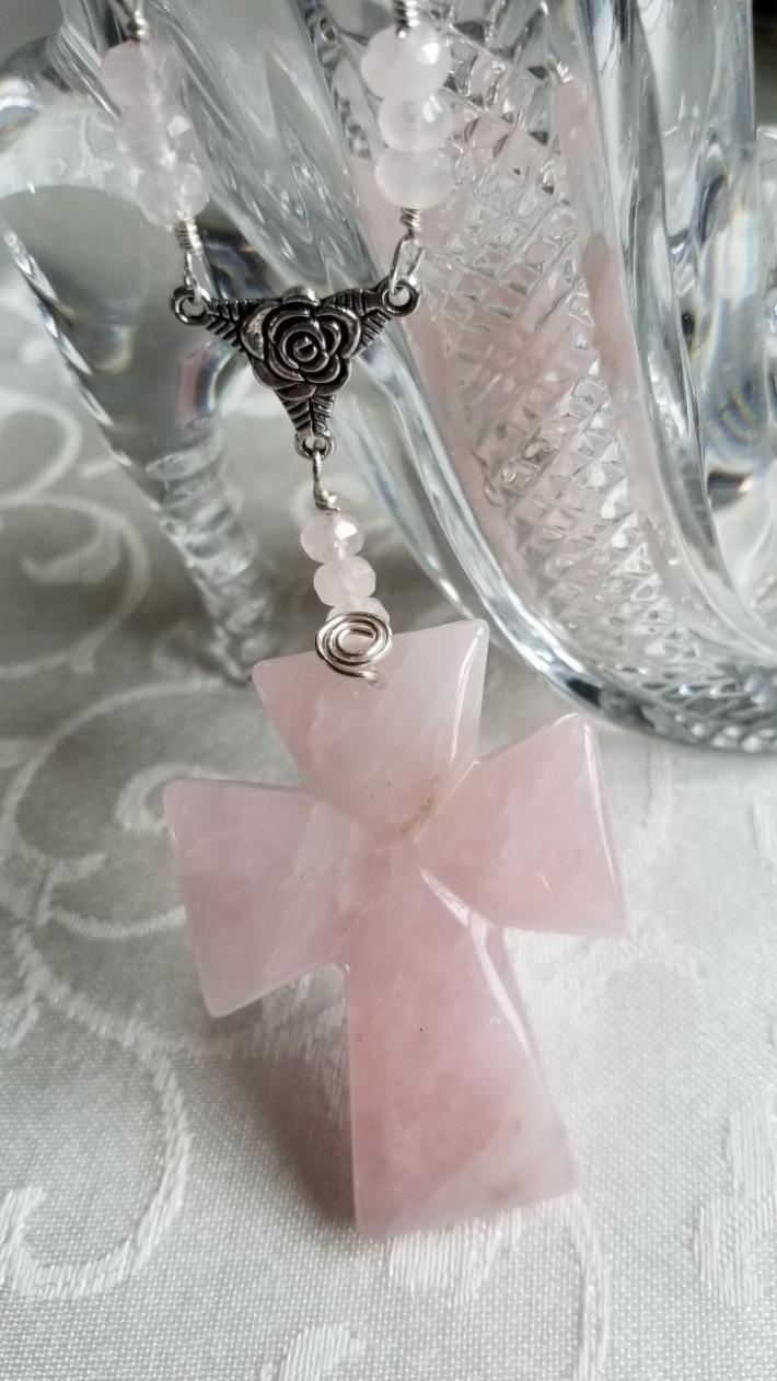 Pink Cross                                       Rose Quartz Cross Necklace