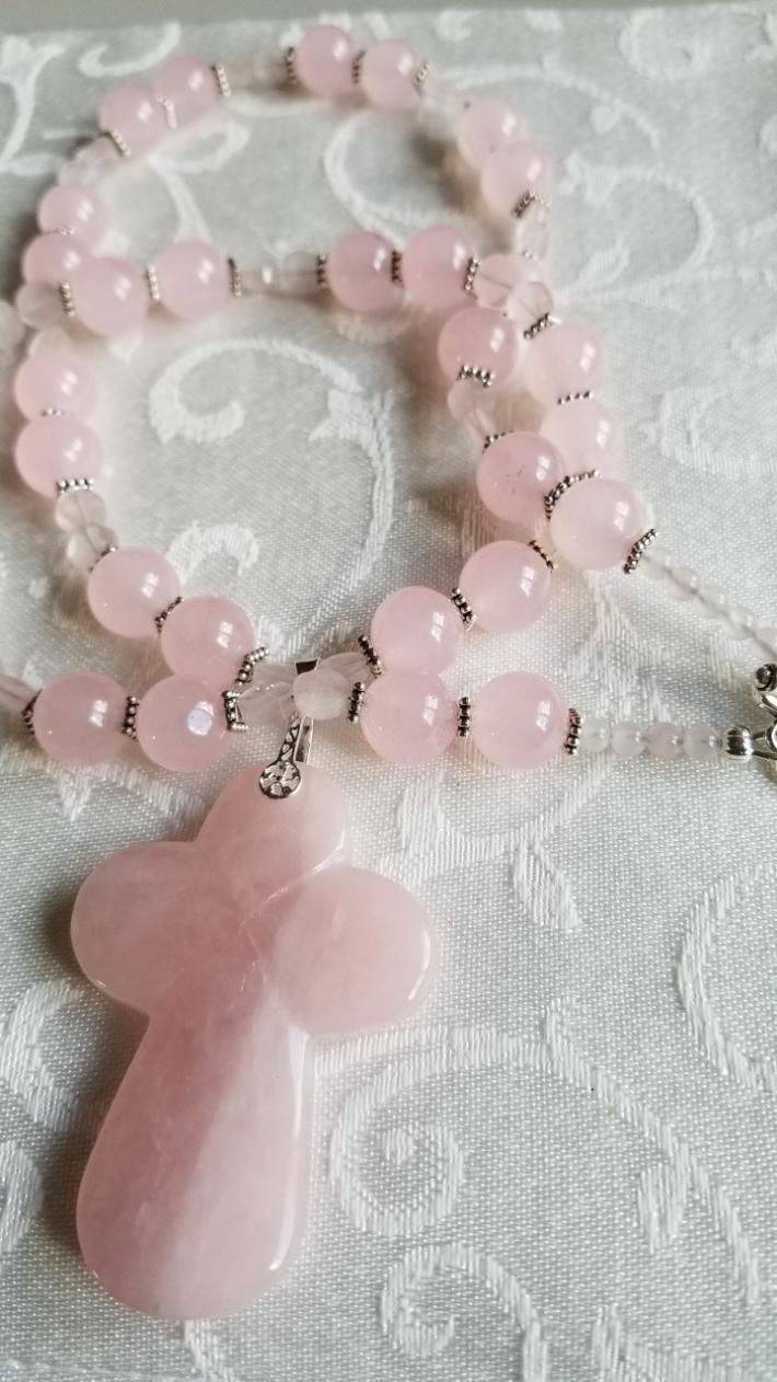 Sunrise at The Cross                       Rose quartz Necklace