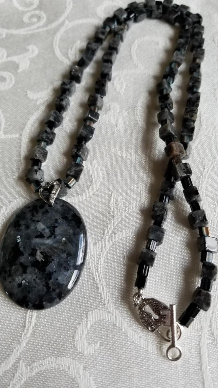 Shimmering Gray                                Larvikite Necklace