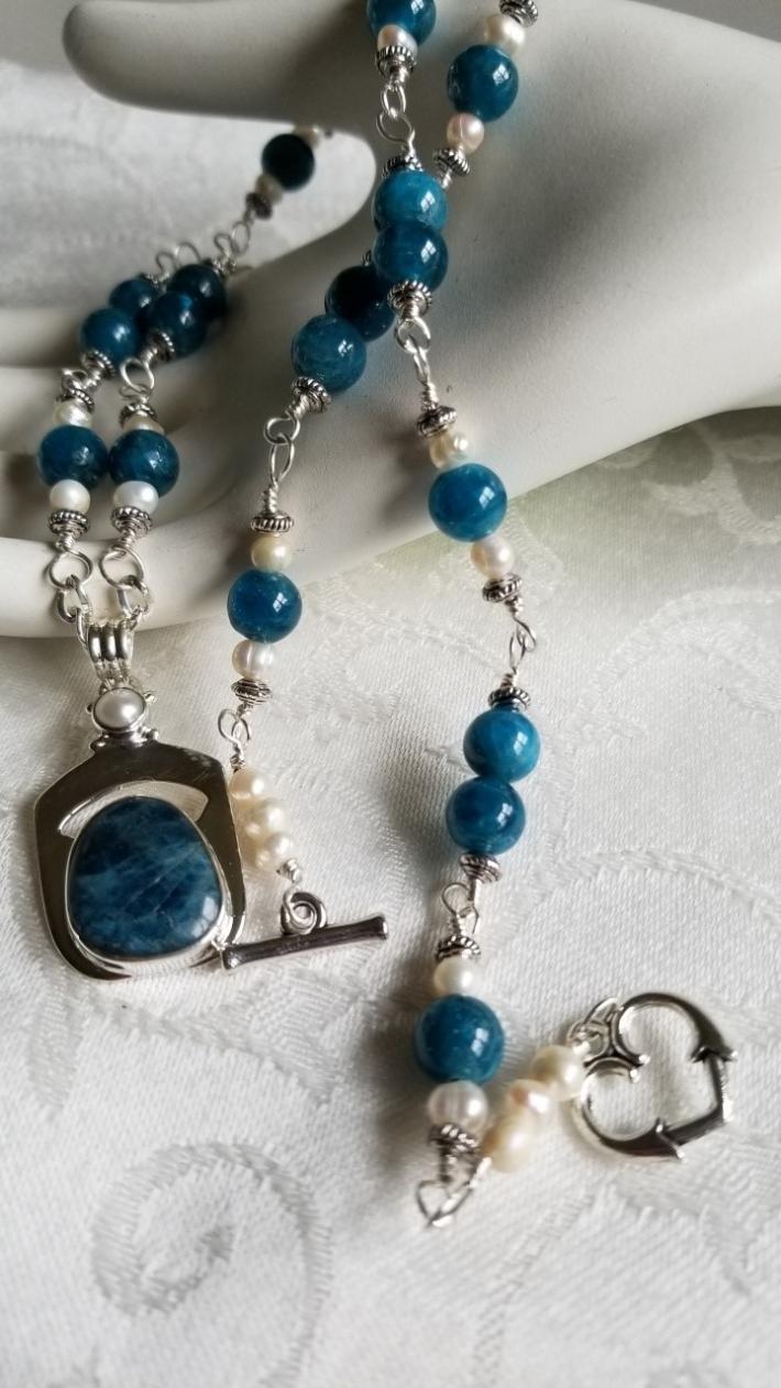 Madagascar Blue                                     Blue Apaptite Necklace