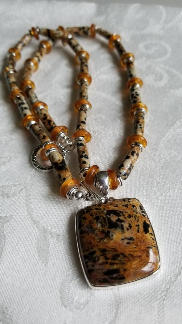 Golden Puppy                                      Dalmatian Jasper Necklace