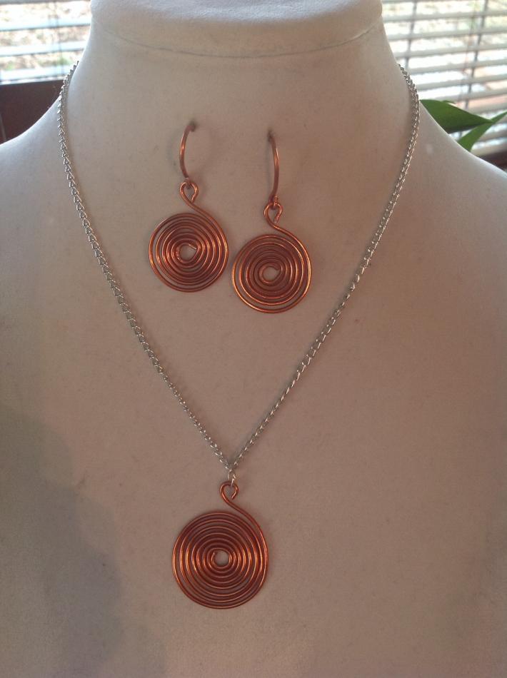 Copper Spiral Necklace Set