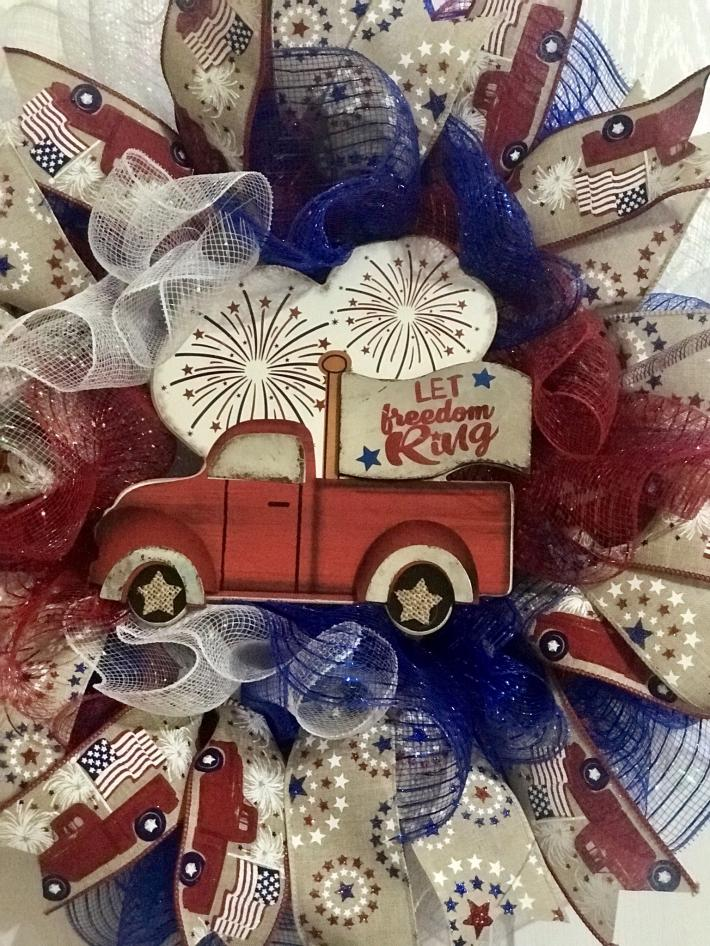 Red truck 4th of July wreath