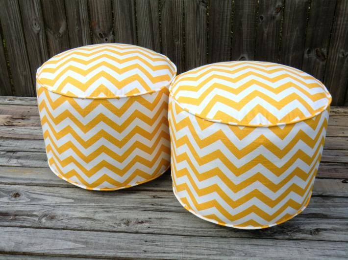 chevron pouf ottoman round ottoman in 18 yellow floor pouf pouffe floor cushion on handmade. Black Bedroom Furniture Sets. Home Design Ideas