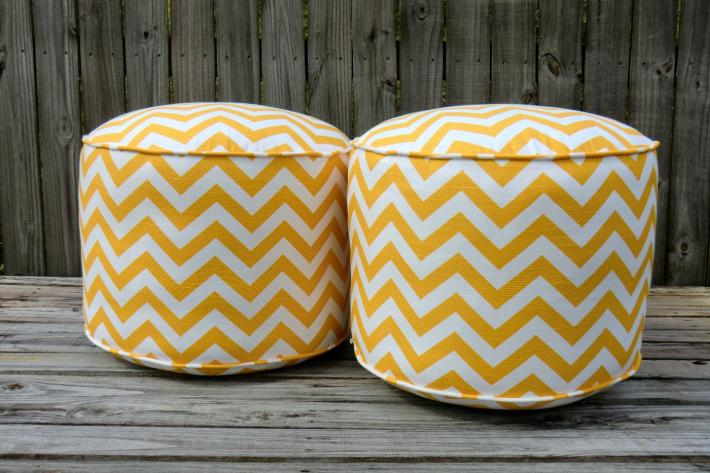 Chevron pouf ottoman round ottoman in 18 yellow floor pouf pouffe floor cushion