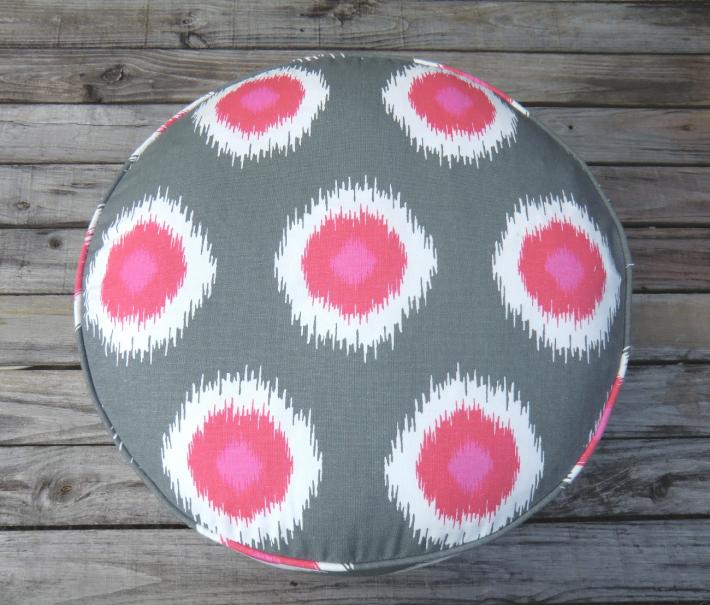Ikat pouf ottoman in grey and pink