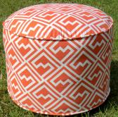 Orange fretwork pouf in 18 diameter